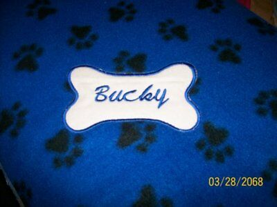 DOG CAT FLEECE BLANKET Personalized Handcrafted 40x40in white w// multicolor paws
