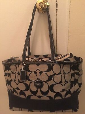 COACH XLarge Canvas Tote H1077F15188 BLACK and GRAY Shoulder hand or Diaper Bag