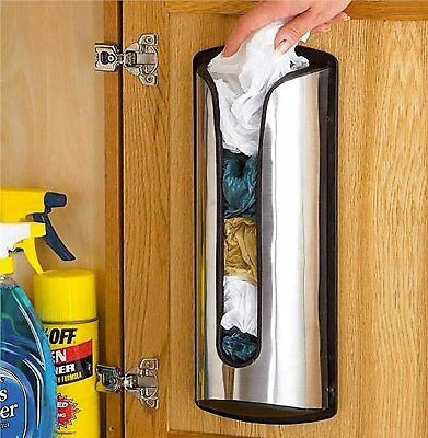 Wall Mounted Plastic Bag Carrier Storage Holder Bag Dispenser Stainless Steel
