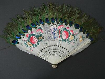 Antique Hand Painted Oriental Feather Fan -  Japanese / Chinese