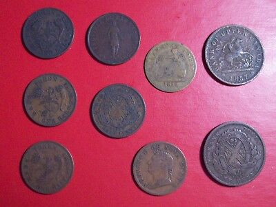 Lot of nine diffrent Canadian Penny and Half Penny Tokens