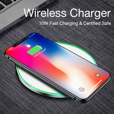 Qi Fast Wireless Charger Charging Pad For iPhone X/8/8 Plus+Galaxy S9/S8/Note 8^