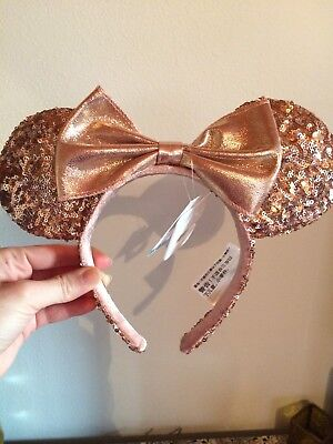 Authentic Disneyland Rose Gold Minnie Mouse Ears Brand New