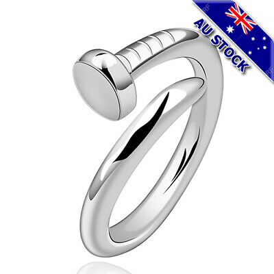 Classic 925 Sterling Silver Filled Adjustable Nail Band Ring Gift