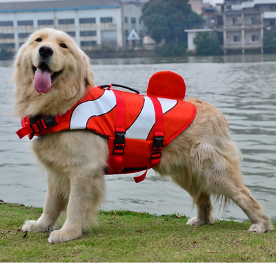 Pet Dog Life Swimming Jacket Shark Mermaid Clownfish Buoyancy Float Aid Vest New