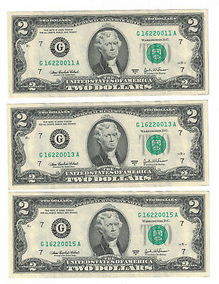 "USA Banknote Lot of 3 Notes x $2 Dollars 2003-A "" CHICAGO "" XF. (#10)"