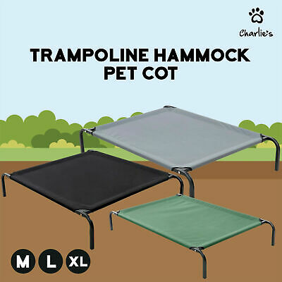 HEAVY DUTY TRAMPOLINE HAMMOCK PET BED Dog Cat Summer Cool Cot Size M L XL SET