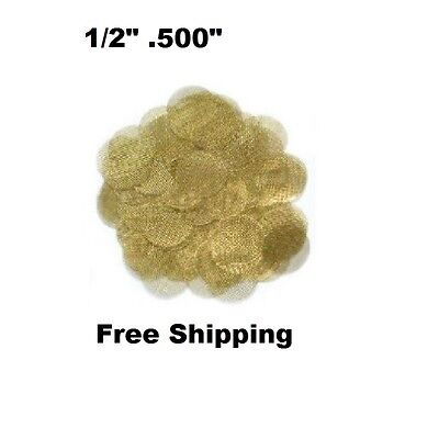 "private 100x Brass Gold Tobacco Pipe Screens - USA Made  - 1/2"" .500"""