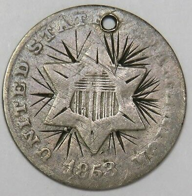 1853 Silver Three Cent Piece Trime 3c US Coin Item #17696