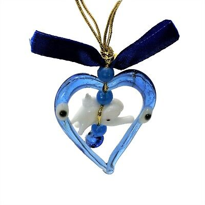 Evil Eye Greek Mati Blue Glass Heart Shape Charm Lucky Elephant Amulet Decor
