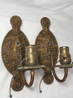 Pair of 1900s Tudor Wall Sconces Antique Light Fixtures Vintage Arts Craft Style