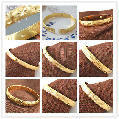"""Splendid  Well Carved 18K Stamped Yellow Gold Filled Openable Bangle 8"""" Circle"""
