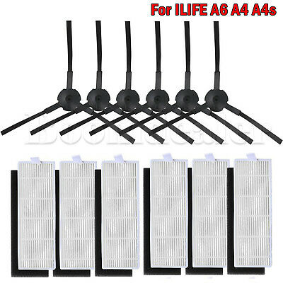 6*Side Brush + 6*HEPA Filter +6*Sponges for ILIFE A4 A4s A6 Robot Vacuum Cleaner