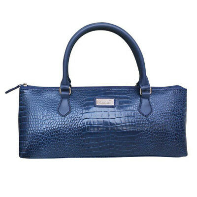 SACHI Stylish Handbag Insulated Wine Tote Purse Cooler Bag Crocodile Navy Blue!