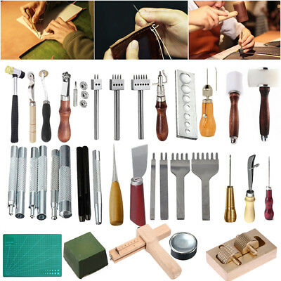 Various Stlye Leather Craft Tools DIY Sewing Punch Groover Awl Skiving Knife Kit