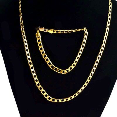 Cool Men/Lady's Jewelry Set 18K Yellow Gold Filled Necklace Bracelet Chain