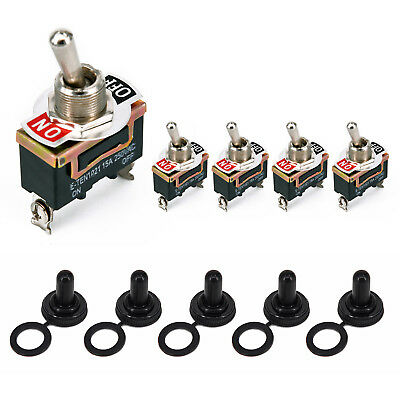 5pcs 2Pin Rocker Toggle Switches On/Off 15A 250V for Car Truck ATV Boat Marine