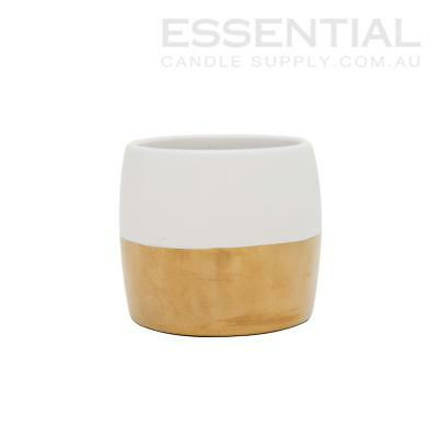Ceramic Candle Jar 2 tone Ivory/Gold - 400ml x6