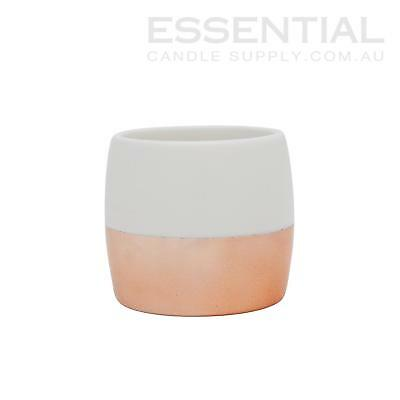 Ceramic Candle Jar 2 tone Ivory/Rose Gold - 400ml x6