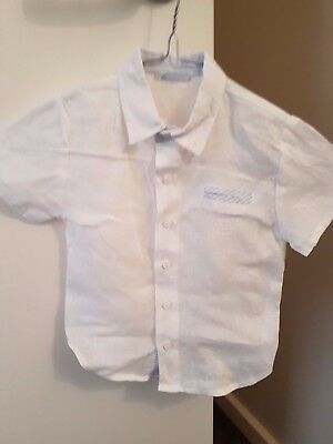 TUTTO PICCOLLO Boys size 24mth Linen white s/sleeve shirt with Blue trim in EC