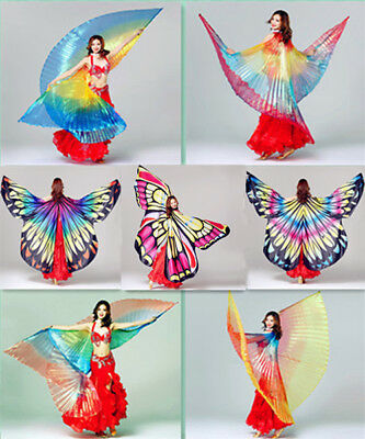 New Transparent Shiny Colorful Butterfly Belly Dance Angel Isis Wings