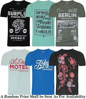 New Mens Printed T Shirt Branded Cotton Crew Neck Graphic Printed Summer Top