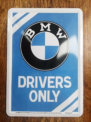 BMW Drivers Only ! Metal Postcard Mini Advertising Tin Sign Novelty Card gift