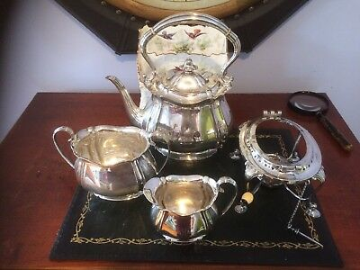 HB&SON Sterling Silver Tea SET /Pot/ Stand And Burner/ With Creamer& Sugar Bowl