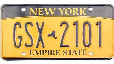 Current Style New York License Plate #GSX-2101