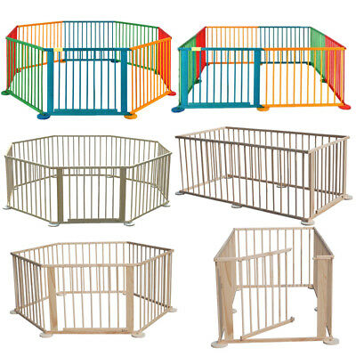 6/8 Panel Playpens Safety Baby Guard Children Toddler Wooden Room Divider Fence
