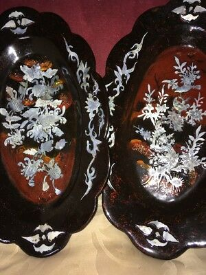 Oriental Lacquered Wall Plaques/Dishes With Mother Of Pearl Birds & Flora