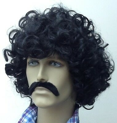 Black Wavy/Curly Fancy Dress Wig & Droop Moustache. Self Adh. Uk
