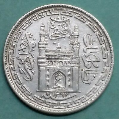 Silver-Princely State-India-Hyderabad-1/4 Rupee-Rare-Wt:-2.780 Gm