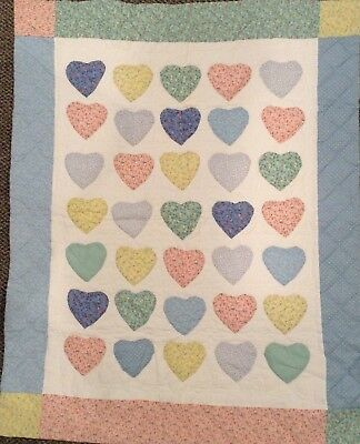 Vintage Red Calliope Classic Quilted Hearts  Baby Blanket Quilt Tapestry