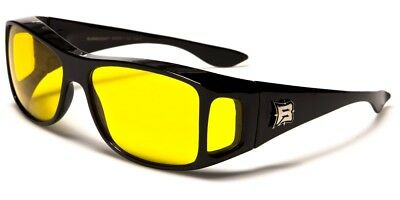 Barricade Fit Over Sunglasses UV400 Motorcycle NIGHT Driving  Yellow Lens 924