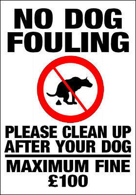 NO DOG FOULING - PLEASE CLEAN UP metal SIGN dogs mess warning notice land park