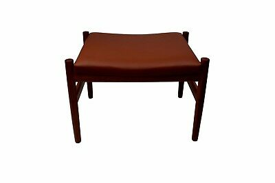 Danish mid century teak ottoman by Spøttrup, brown aniline leather, stamped