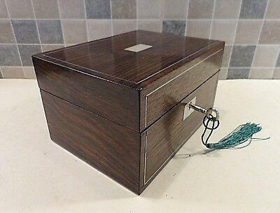 Victorian Small Inlaid Rosewood Sewing Box- Orig.interior+ Contents - Lock & Key