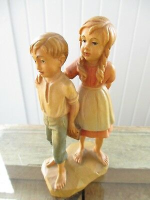 Vintage Anri Hand Carved Wooden Peasant Boy and Girl