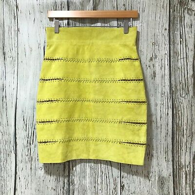 LA MANIA Lime Green Skirt Suede Gold Stitched Woven Size UK 8-10 4214