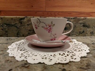 Vintage Sarah Reed Pottery Tea Cup & Saucer Set With Spoon Made In Norway