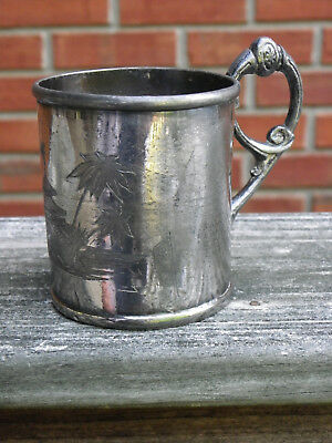 """3 1/2"""" Antique Silverplate Mug or Cup-Early Reed & Barton-1850s?-Oriental Design"""