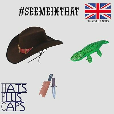 Men/'s Safari Fancy Dress Costume /& Inflatable Alligator Stag Crocodile Dundee