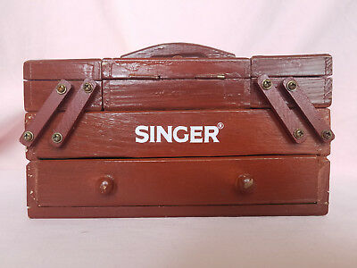 Vintage Mini Singer Sewing Box Accordion Style Wooden Fold Out Thread Storage