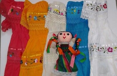 Mexican Girl Gypsy Dress Lace with Embroidered Flower variety of colors 2-3 T