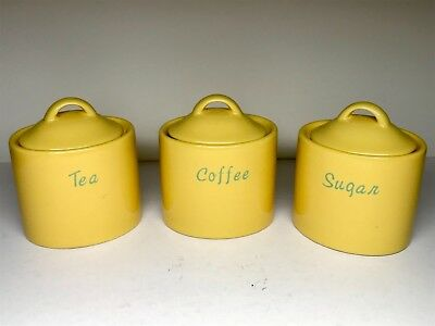 Retro Style Tea Coffee Sugar Canisters Ceramic Yellow Lovely