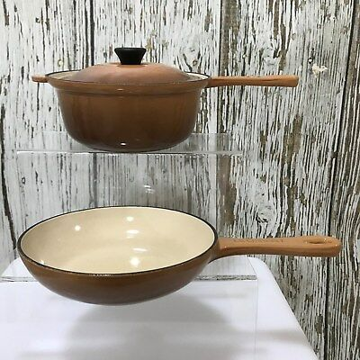 LE CREUSET 18 Brown Cast Iron Vintage Saucepan Small Frying Pan French 3538