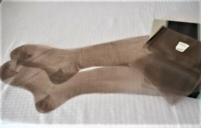 Vintage Belle Sharmeer Modite Smoky Brown Sheer Flat Knit Rht Nylon Stockings 10