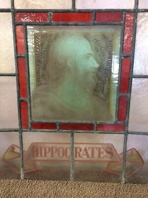 Antique Stained Glass Windows For Restoration, Hippocrates, Linnaeus & Lavoisier