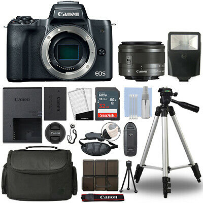Canon EOS M50 Mirrorless Digital Camera with 15-45mm STM Lens Black+ 32GB Bundle